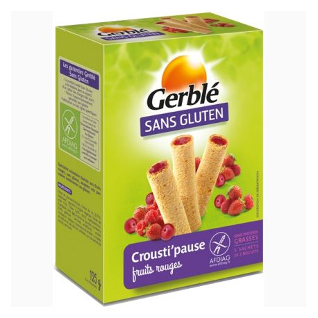 Biscuits fourrés fruits-rouges sans gluten CROUSTI-PAUSE - GERBLE (125g) lppr 1.59€