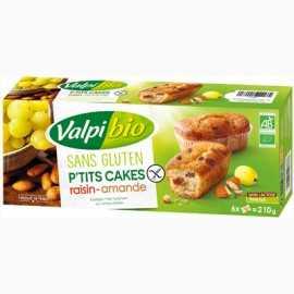 Mini-cakes amande-raisin sans gluten X6 BIO - VALPIBIO (210g) lppr 2.54€