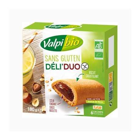 Biscuits cœur-fondant noisette-cacao sans gluten DELI-DUO X6 BIO - VALPIBIO (180g) lppr 2.23€