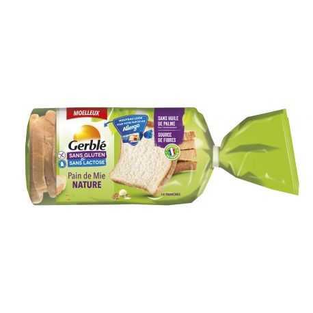 Pain de mie nature sans gluten - GERBLE (350g) lppr 1.68€