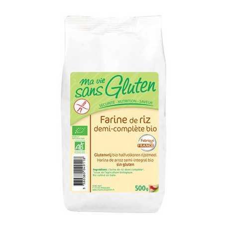 Farine de riz semi-complète sans gluten BIO - MA-VIE-SG (500g)