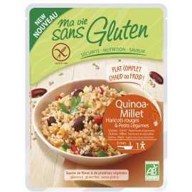 Plat sans gluten quinoa-millet-haricots rouges-légumes BIO - MA-VIE-SG (220g)
